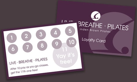 Live Breathe Pilates loyalty card example